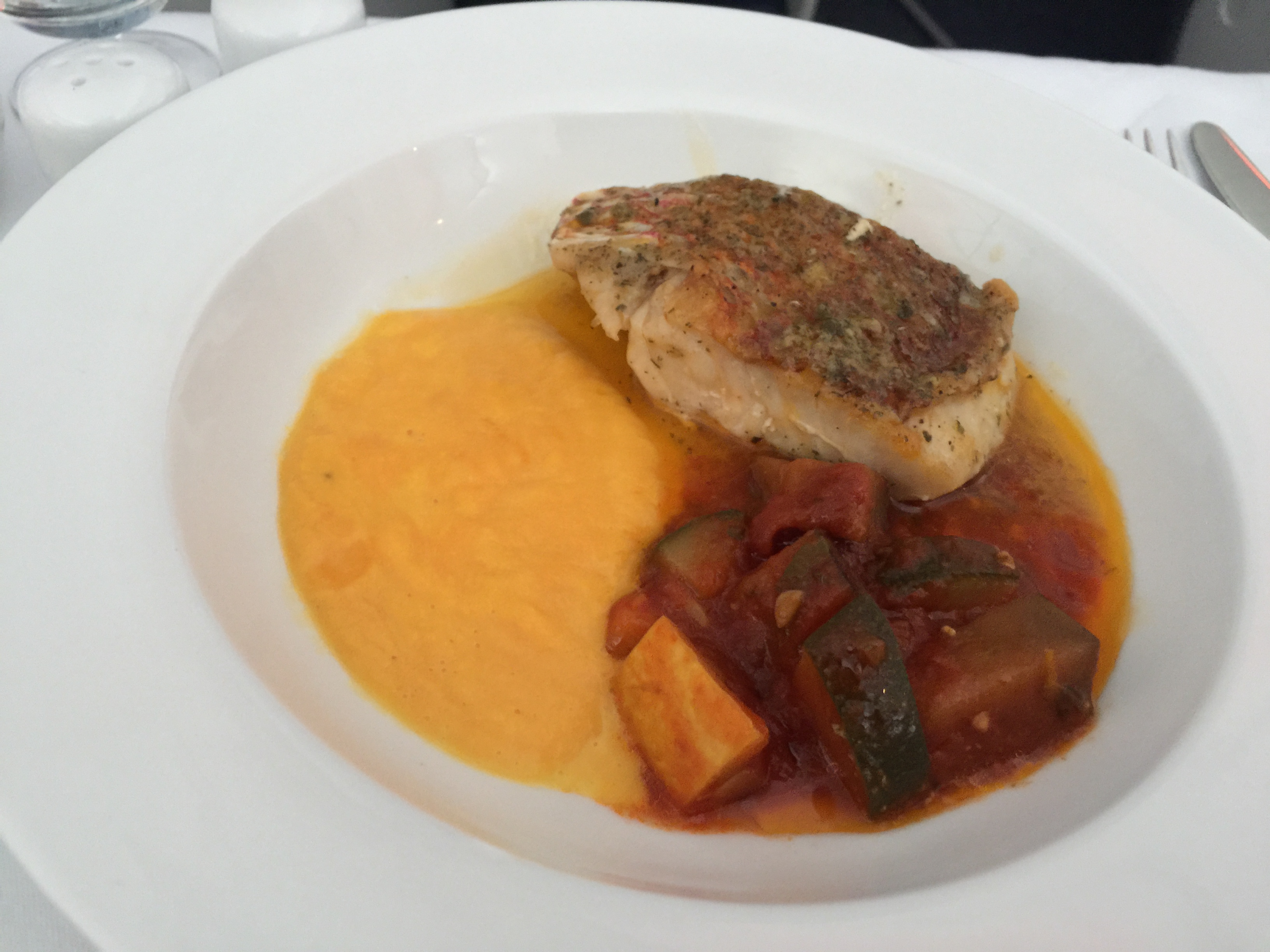 Main course: Grilled Red Snapper with mashed pumpkin and mixed vegetables, served with Cafe de Paris sauce